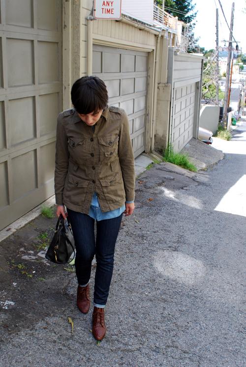 calivintage weekend wear military jacket j brand jeans