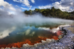 'A Dip Anyone?' New Zealand, Waiotapu, Champagne Pool (WanderingtheWorld (www.LostManProject.com)) Tags: new travel trees sky orange hot colors pool beautiful clouds canon island photography photo spring high interesting warm dynamic bright photos unique champagne surreal places visit steam zealand fluorescent northern wonderland bacteria range geothermal thermal hdr inspiring boiling wwh greatphotographers 50d flickrsbest waiotaupo colorphotoaward bestofmywinners lostmanproject wwwlostmanprojectcom