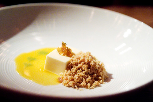 Creme de mascarpone, honey caviar, almond EVOO crumble, passion coulis, shiso syrup