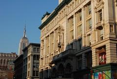 up 6th Avenue towards the Empire State (Mattron) Tags: nyc newyorkcity newyork architecture chelsea manhattan 18thstreet esb empirestatebuilding empirestate flatiron 6thavenue commerical anchoroftheavenue