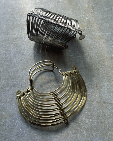 Alexander Calder, Two Bracelets, ca. 1945 silver and ca. 1940 brass