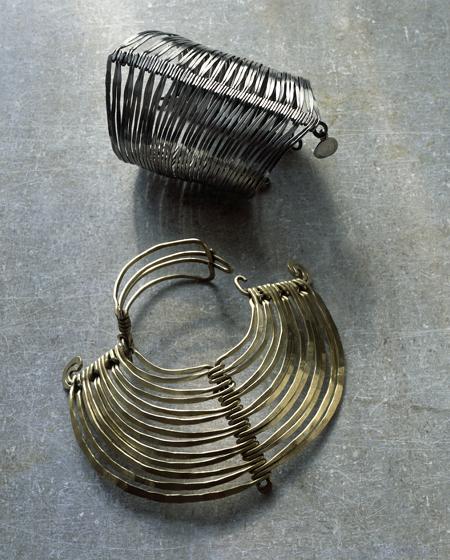 Alexander Calder, Two Bracelets, ca. 1945 silver and ca. 1940 brass