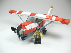 Cessna (Crimson Wolf) Tags: red white plane town lego air cessna