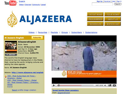 Screen shot of Al JAzeera You Tube