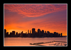 New York Dawn (DP|Photography) Tags: newyork sunrise dawn twilight jerseycity skyscrapers hudsonriver bluehour downtownmanhattan redskies orangeskies goldenrays abigfave canonrebelxti platinumphoto goldstaraward debashispradhan dpphotography dp|photography
