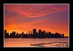 New York Dawn (DP|Photography) Tags: newyork sunrise dawn twilight jerseycity skyscrapers hudsonriver bluehour downtownmanhattan redskies orangeskies goldenrays abigfave canonrebelxti platinumphoto goldstaraward debashispradhan dpphotography dp|photography