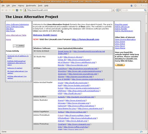 The Linux Alternative Project - linuxalt.com - Mozilla Firefox