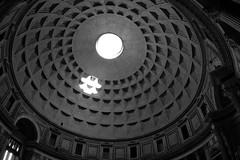 Black and White Dome (L. Allen Brewer) Tags: blackandwhite italy rome roma temple cathedral pantheon skylight dome rotunda hadrian oculus romeitaly ancientrome romaitaly eternalcity