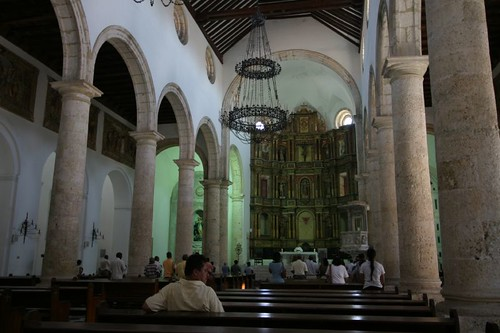 Inside the Cathedral of Cartagena.