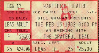 Grateful Dead ticket - 2/16/82 Warfield Theatre, San Francisco [from www.psilo.com]