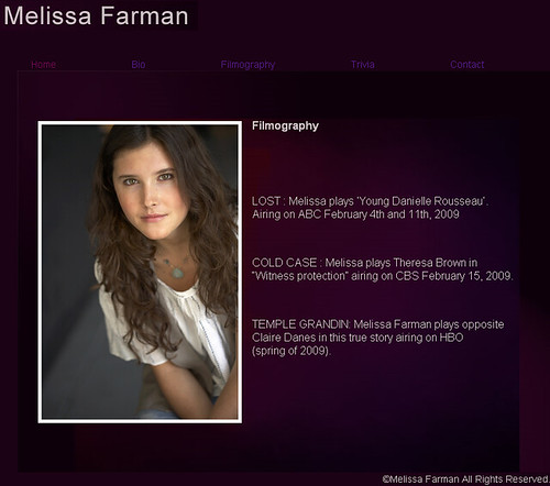 página web de Melissa Farman