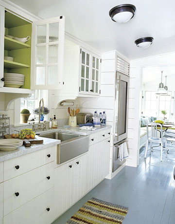 Painted kitchen floors: Pratt & Lambert gray + white cabinets + green interiors