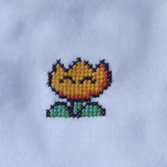 fire flower onesie crop (benjibot) Tags: clothing crossstitch crafts videogames snes onesie supermarioworld