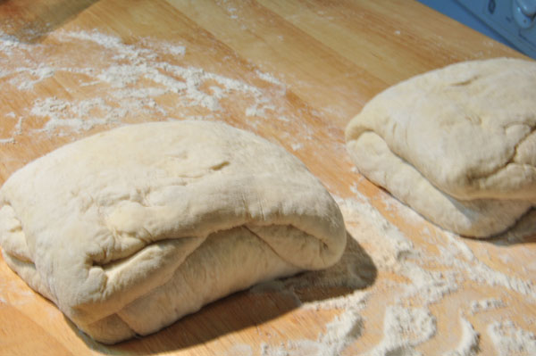 bread dough stretched stacked and salted