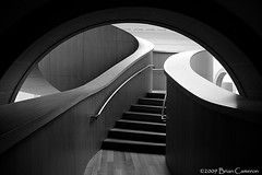Arch and Staircase (-- brian cameron --) Tags: light blackandwhite bw toronto art lines architecture stairs 350d blackwhite shadows interior curves arches gehry galleries ago form baroque frankgehry staircases artgalleryofontario pixelizeblogspotcom baroquestair musedesbeauxartsdelontario