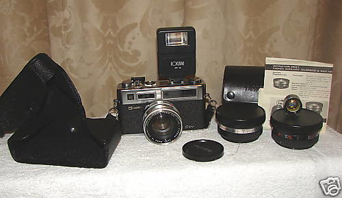 Yashica Electro 35 GSN with Case Range Finder and Wide & Tele Lens Set