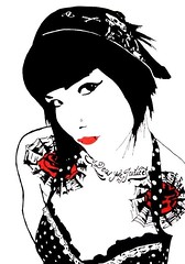 ashley stencil (So Tx) Tags: portrait pierced white black sexy art girl graffiti stencil texas grafiti pop tattoos polkadots tatoo sotx rgv streettartsotx tloh