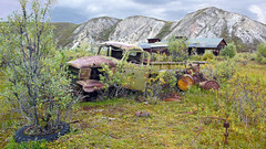 canol trail trucks (xtremepeaks) Tags: canada station barrels decay north nwt tires pump trail oil trucks pipeline wartime disintegration canol