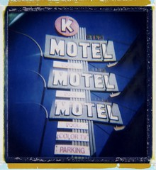 Motel #2 - Many Amenities (roostercoupon) Tags: california ca color film sign vintage square polaroid hotel la losangeles holga motel 09 type instant holgaroid expired 2008 2009 89 outdated culvercity 120n colortv roidweek kmotel