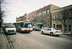 Westbound CTA Route # 78 Montrose Avenue bus. Chicago Illinois. January 2006.