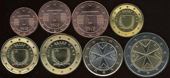 Sada mincí 1 cent - 2 euro, Malta 2008