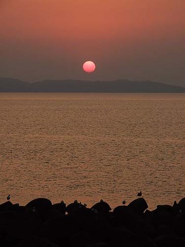 日本海の夕日~笹川流れ
