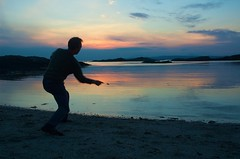 Sunset skimming (petermoore79) Tags: sunset sea sun beach scotland highlands skimming