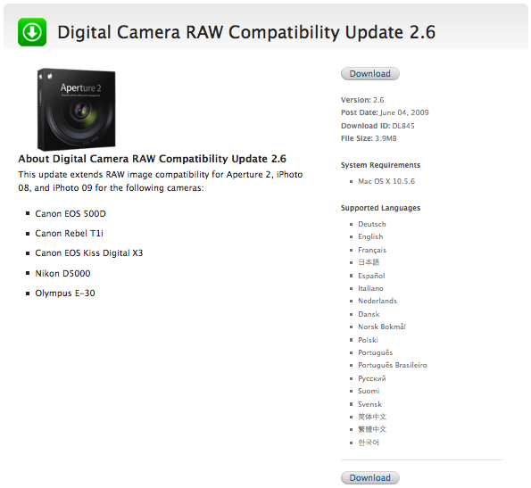Digital Camera RAW Compatibility Update 2 6 for the Mac