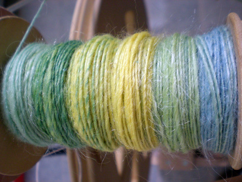 hand-spun yarn on the bobbin