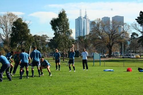Gli Azzurri provano la touche a Melbourne