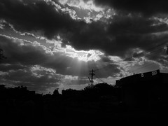 The darkest hour is just before the dawn. (legends2k) Tags: light sky blackandwhite monochrome silhouette clouds lumix dawn darkness panasonic g1 proverb fourthirds chettinad karaikudi microfourthirds panasonicdmcg1