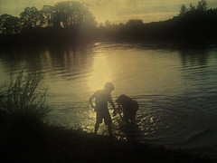 boy & dog & lake & iphone (wizmo) Tags: boy dog lake fetch iphone thelittledoglaughed