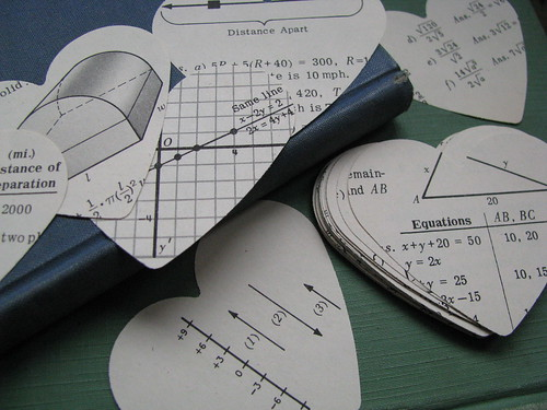 I Heart Algebra. Hand Punched Hearts From 1960 McGraw Algebra Textbook por buppins.