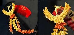 Pheonix: fire bird kanzashi (Bright Wish Kanzashi) Tags: orange bird phoenix yellow fire handmade hairpiece  accessory kanzashi  tsumamikanzashi hanatsukuri tsumamizaiku