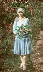 Lovely tinted image of a bridesmaid (lovedaylemon) Tags: wedding vintage garden found image bridesmaid tinted