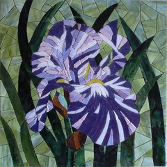 IRIS (collinemosaics) Tags: blue iris flower green fleur mosaic vert bleu mosaque collinemosaics