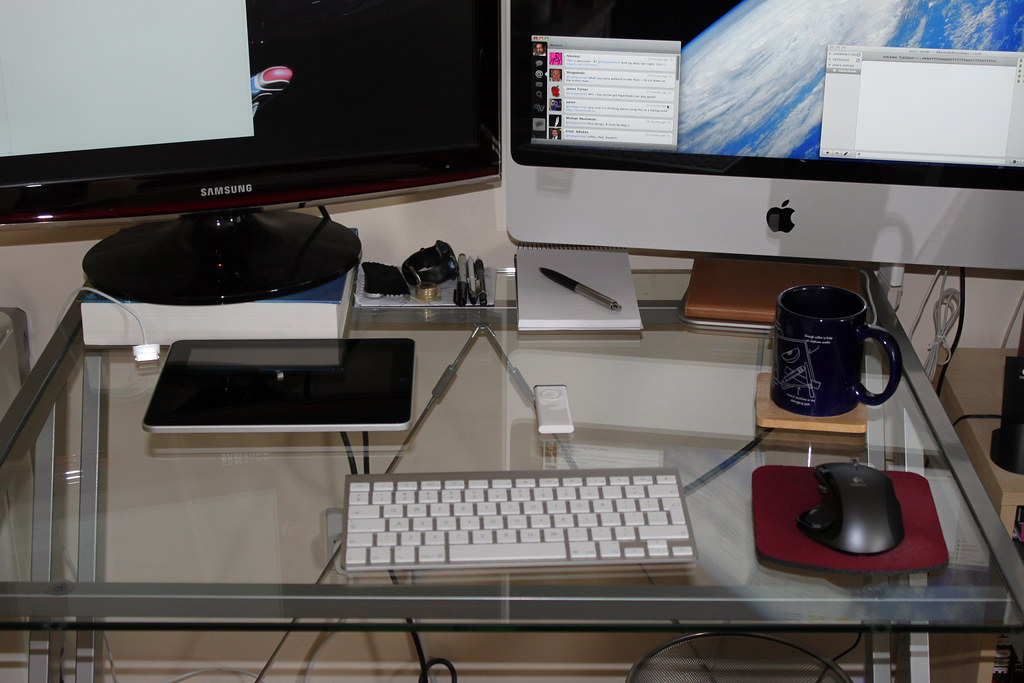 My actual desk with iPad