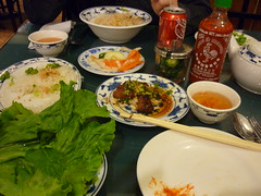 Vietnamese food: beef with lemongrass and rice stick, cucumbers, lettuce, mint. YUM. (1987porsche944) Tags: cuisine restaurant newjersey yummy jerseycity vietnamese beef awesome nj mint tasty gourmet lettuce hotsauce lemongrass vietnamesefood ricestick nhatrangplace