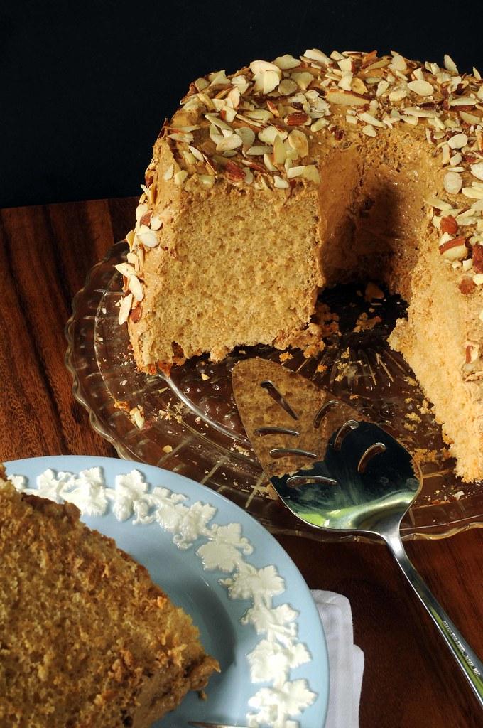 sliced espresso angel food cake
