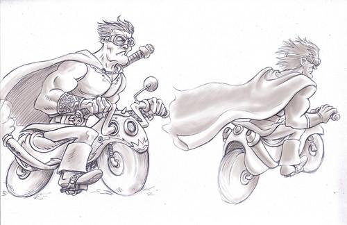 Sir Francis en moto