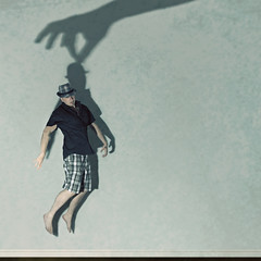 Karma (Shawn Van Daele) Tags: portrait selfportrait man hat silhouette wall photomanipulation photoshop square shadows grunge levitation squareformat shawn fedora karma 365 concept conceptual plaid float levitate 52weeks 365days shawnvandaele