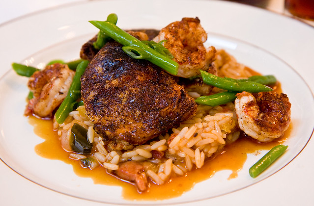 Jambalaya with shrimp, andouille sausage, and Cornish game hen, What Happens When