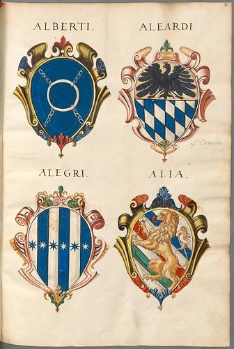 Familienwappen kleinerer Adelshäuser von Verona mit Buchstaben