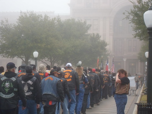 Bikers Walking to the Capitol