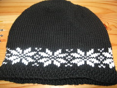 black and white snowflake hat