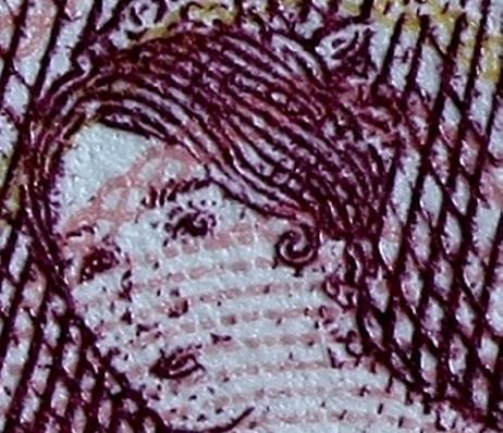 Panorama banknote image closeup