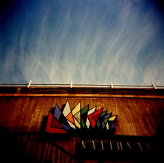 bring me colour (microabi) Tags: sky cloud up look sign holga colours southbank national catchy