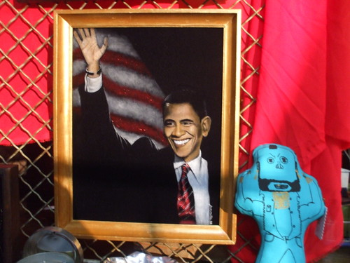 Barack Obama portrait on velvet