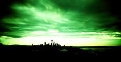 The Emerald City (ChrisVill) Tags: seattle park sunset green film washington xpro crossprocess toycamera slide kerry wa ektachrome vivitar e100vs emeraldcity ultrawideandslim
