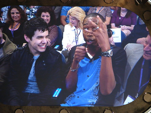 The host went out into the audience and sat next to David Archuleta to give voting instructions. Photo by Mark Goldhaber.